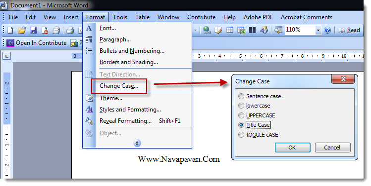 Changing Text Case in Microsoft Word