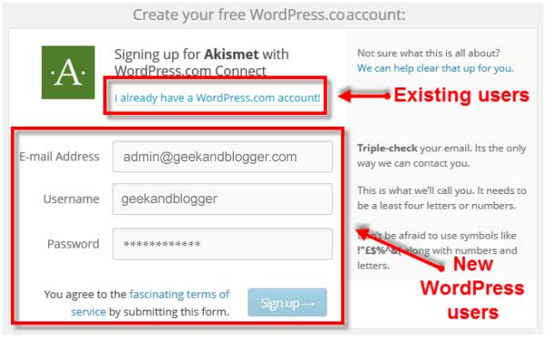 Create WordPress.com Account