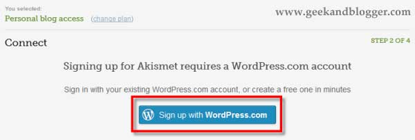 Sign up WordPress.com