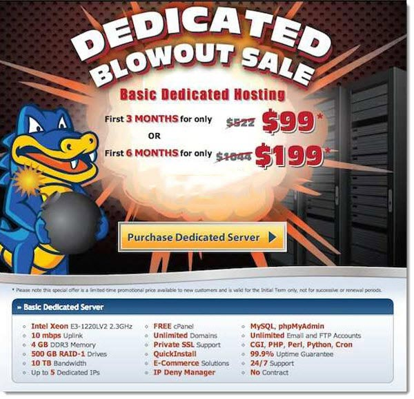 HostGator Dedicated Server Blowout Sale