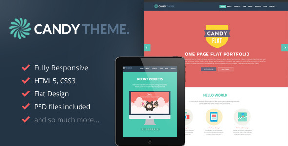 Candy – Onepage Flat Responsive WordPress Theme