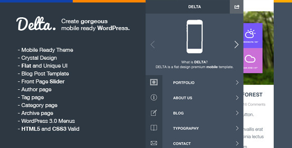 Delta – Flat Designed WP Mobile Theme